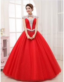 Cap sleeves halter Swarovski beaded accent skyblue red ball gown tulle wedding quincenera dresses WBD-096