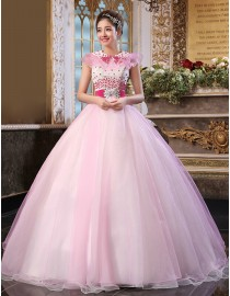 Cap sleeves fuchsia beads beaded pink ball gown tulle wedding quincenera dresses WBD-097