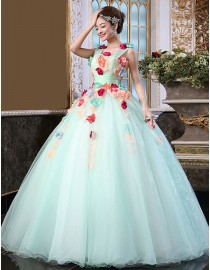 Sweetheart watergreen ball gown tulle wedding quincenera dresses with handmade flowers embellishment WBD-098