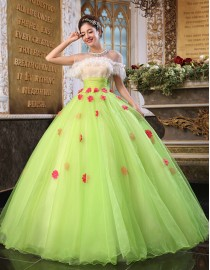 Illusion tulle lace work cap sleeves green tulle ball gown wedding quincenera dresses with appliqued red flowers embellishment WBD-099