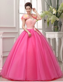 Sweetheart big flowers small swarovski beaded strap shoulder hot pink tulle ball gown wedding quincenera dresses WBD-100