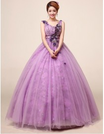 Sexy v-neck light purple tulle ball gown flowers embellishment wedding quincenera dresses WBD-102