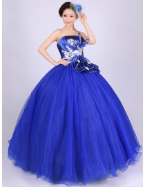 Strapless royal blue tulle ball gown quincenera dresses lace appliques and sequins embellishment WBD-103