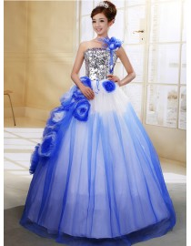 One shoulder strapless blue tulle ball gown flowers and sequins embellishment wedding quincenera dresses WBD-105
