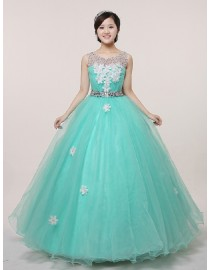 Illusion tulle jewel neckline small swarovski beaded green tulle ball gown handmade flowers embellishment wedding quincenera dresses WBD-106