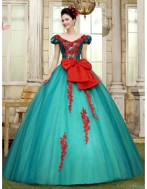 Sexy open neckline darkgreen tulle skirt ball gown with red lace appliques and bowknot wedding quincenera dresses WBD-108