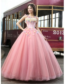 Illusion neckline pink tulle ball gown flowers embellishment wedding quincenera dresses WBD-113
