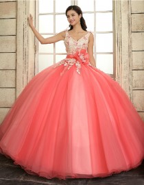 Sexy v-neck watermelon red  tulle ball gown flowers lace appliques swarovski embellishment wedding quincenera dresses WBD-114