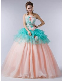 Strapless powdergreen organza upper and pink tulle skirt small beads and handmade flowers embellishment lace appliques tulle ball gown wedding quincenera dresses WBD-117