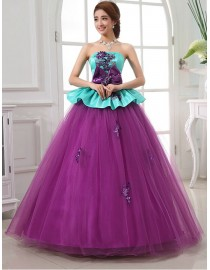 Straples green taffeta upper and purple tulle skirt lace appliques beads bowknot embellishment ball gown wedding quincenera dresses WBD-119