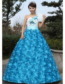 One shoulder cap sleeves rosettes skirt ball gown skyblue red hot pink wedding quincenera dresses WBD-120
