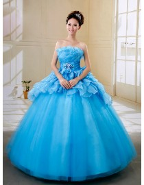 Elegant strapless layered skyblue tulle ball gown wedding quincenera dresses WBD-122