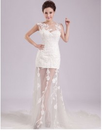 Charming sweetheart sheath sheer tulle ivory white lace appliques chapel train two in one wedding dress YTB-006