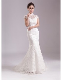 Vintage high collar cap sleeves lace appliques key hole at back sheath ivory white court train wedding dress YTB-007