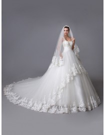 Gorgeous Spring illusion cap sleeves sweetheart two layered lace appliques swarovski beaded accent court train ball gown wedding dress with lace veil  YTB-123