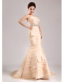Gorgeous champagne organza tailored layered sheath sweeping train wedding dress YTB-129
