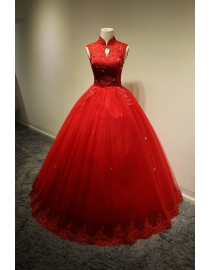 Awesome 2015 spring red high collar cap sleeves bodice lace appliques swarovski beaded ball gown sweeping train wedding dress YTB-132