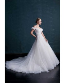 Stunning off shoulder lace appliques pearls beaded sliver sash a-line tulle court train wedding dress WX-002