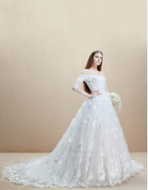 Dreaming off shoulder long sleeves handmade flowers appliqued a-line ace appliques  chapel train wedding dress  5W-015