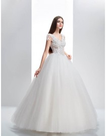 New arrival sexy v-neck lace handmade flowers appliqued basque waistline ball gown floor length wedding dress  5W-024