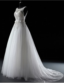 Fabulous luxurious blingbling illusion jewel neckline sweetheart beads beaded accent court train wedding dress  5W-030