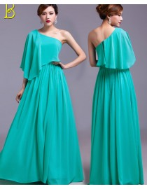 Six different styles with turquoise green color chiffon full length bridesmaids dresses BMD-032
