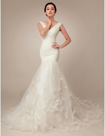 Gorgeous deep sexy v-neck pleated tulle trumpet floral skirt court train wedding dresses TB-149