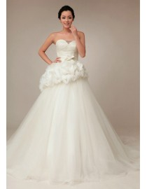 Stunning sweetheart floral waist embellishment skirt a-line sweeping train wedding dress TB-163