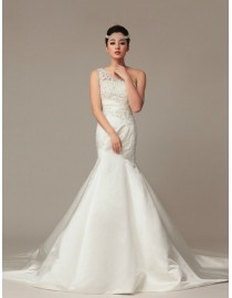 Gorgeous one shoulder lace appliques swarovski beaded mermaid satin court train wedding dress TB-167