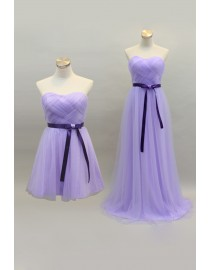 Sweetheart lavender tulle bridesmaid dress with purple sash BMD-111