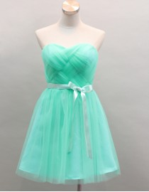 Aquamarine Sweetheart tulle bridesmaid dress with sash BMD-113