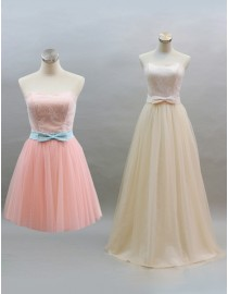 Pink and beige sweetheart tulle bridesmaid dress with bowknot BMD-114