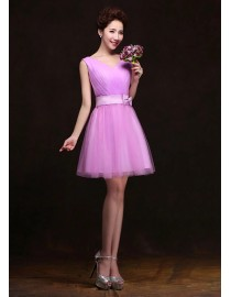 V-neck orchid short tulle bridesmaid dress BMD-141
