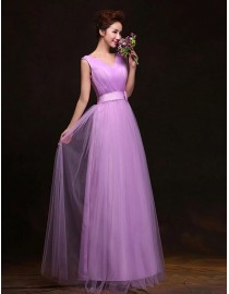 V-neck orchid long tulle bridesmaid dress BMD-142