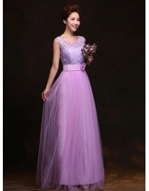 Jewel neckline orchid long lace and tulle bridesmaid dress BMD-144