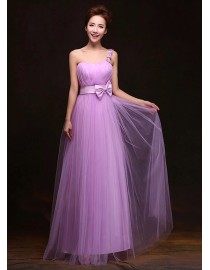 One shoulder orchid long tulle bridesmaid dress BMD-145
