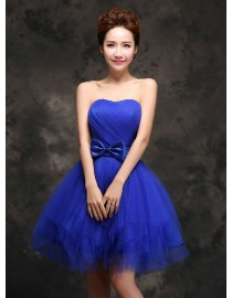 Sweetheart royal blue short tulle bridesmaid dress BMD-151