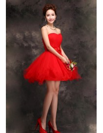 Sweetheart red short tulle bridesmaid dress BMD-153
