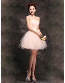 Sweetheart cream short tulle bridesmaid dress BMD-154