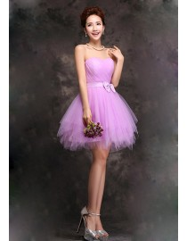 Sweetheart orchid short tulle bridesmaid dress BMD-156