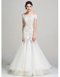 Fabulous off shoulder sheer lace appliques beaded accent fit and flare sweeping train wedding dress YP-005