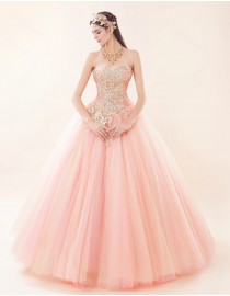 Sweetheart blush pink lace appliques swarovski sequins beaded tulle floor length wedding dress 5W-043