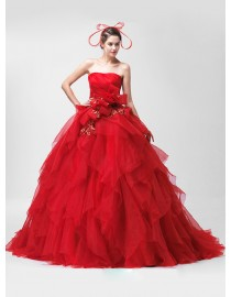 Strapless red puffy layered organza ball gown sweeping train quinceanera prom wedding dress 5W-045