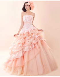Strapless blush pink lace appliques organza layered ball gown princess quinceanera prom sweeping train wedding dress 5W-047