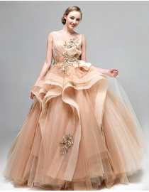Gorgeous v-neck champagne embroidery appliques tulle layered ball gown princess quinceanera prom floor length wedding dress 5W-048