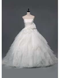 Strapless puffy layered organza ball gown sweeping train quinceanera prom wedding dress 5W-049