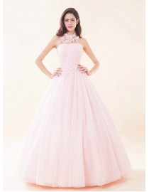 Strapless pink tulle lace appliques beaded a-line quinceanera prom wedding dress 5W-050