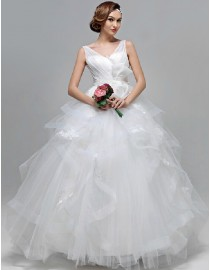 V-neck elegant layered ball gown skirt lace appliques floor length quinceanera prom wedding dress 5W-058
