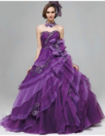 Gorgeous sweetheart embroidery appliques purple organza layered ball gown skirt floor length quinceanera prom wedding dress 5W-060