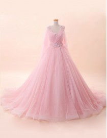 Elegant v-neck lace appliques swarovski  beaded dropes at back pink tulle sweeping train quinceanera prom wedding dress 5W-064